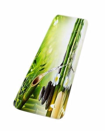 A.Monamour Badematten Badteppiche Badvorleger Yoga Zen Meditation Idee Grün  Bambus Wasser Natürliche Landschaft Umweltfreundliche
