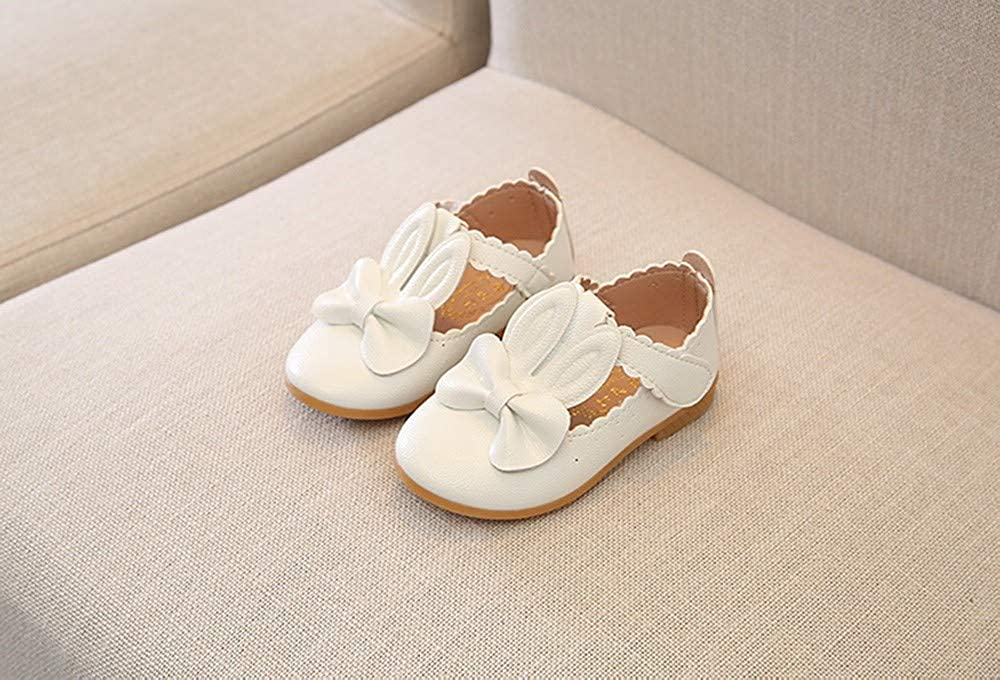 Children Kid Girls Rabbit Bowknot Leather Wave Princess Single mary jane Casual Shoes Lucoo baby boots