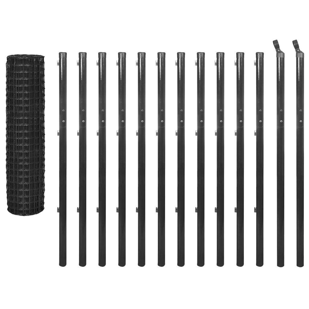 Grey 25x1.7 m Grey 25x1.7 m vidaXL Outdoor Garden Euro Fence Set Wire Mesh Panel Barrier 25x1.7 m Steel Grey
