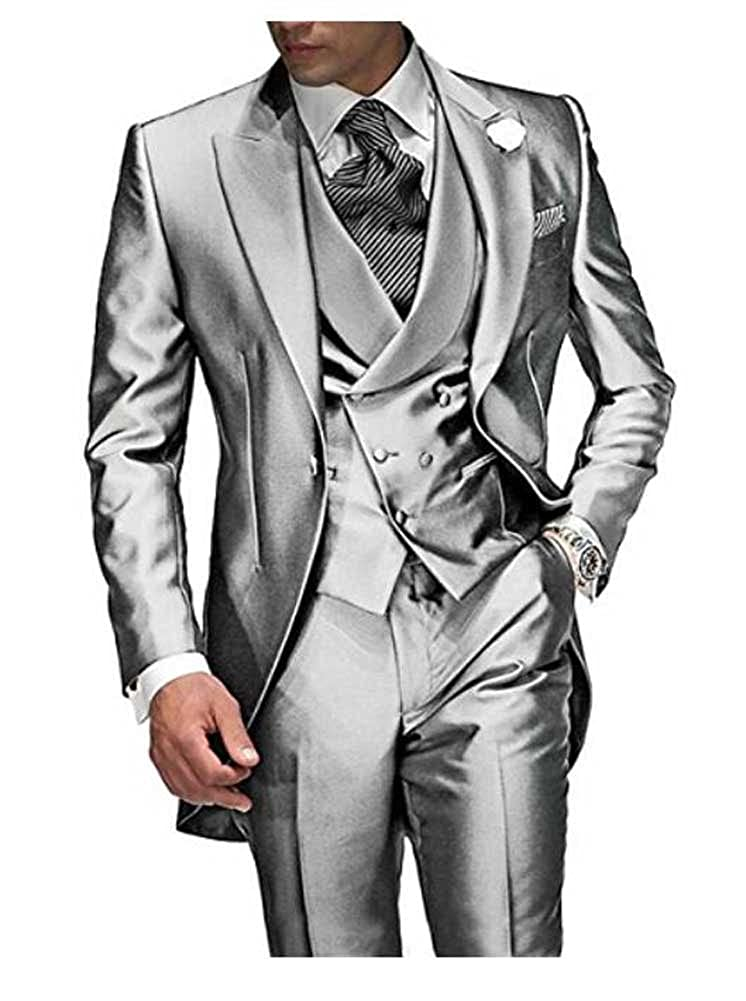 Aokaixi Men's Suit 3 Pieces One Button Groom Tailcoat Suit for Wedding Evening