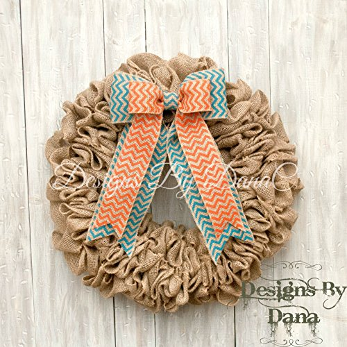 "Burlap wreaths for front door, Decorative wreaths for all year long, 19"" burlap wreath, Door wreath for all occasions"