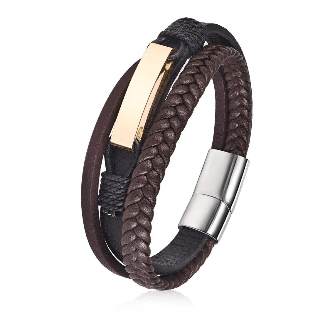 c87cc98f4fe4b DALARAN Bracelets de Lien Multicouche en Acier Inoxydable de Bracelet en  Cuir Brun pour Les Hommes Fermoir magnétique  Amazon.fr  Bijoux