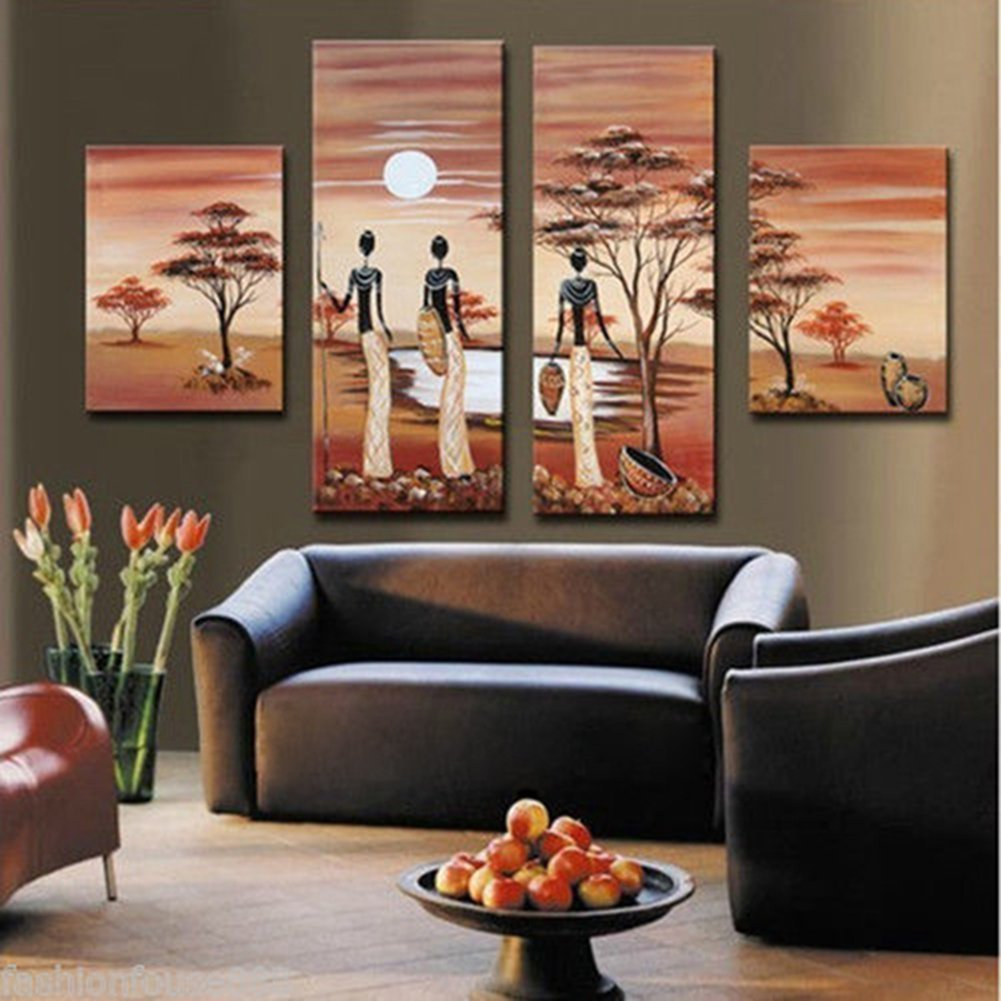 Yeesam art huge african forest giraffe elephant tree 100 yeesam art huge african forest giraffe elephant tree 100 handmade landscape oil painting multi panel split canvas abstract and modern contemporary art amipublicfo Image collections