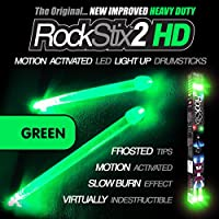 ROCKSTIX 2 HD GREEN, BRIGHT LED LIGHT UP DRUMSTICKS, with...