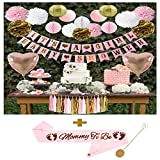 Baby Girl Shower Decorations Set   Mommy to Be Sash   It's a Girl & Baby Shower Banner   Heart Shaped Foil Balloons   Pom Poms   Tissue Garland   Lanterns   Perfect Package for Gifts