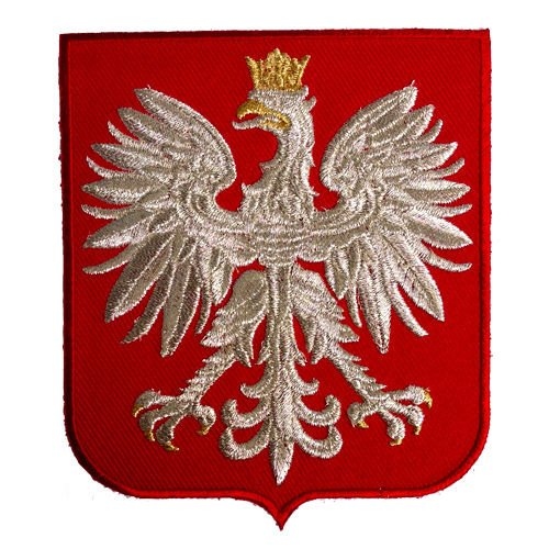 POLAND EAGLE POLSKA COAT OF ARMS POLISH CREST RED SHIELD SILVER METALLIC EMBROIDERED PATCH (Poland Arms)