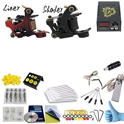 Amazon.com: Tattoo Coil Machine Kit Ink Tattoo Gun Full Set of ...