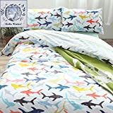 BuLuTu Ocean Whale Sharks Print Cotton Queen Bedding Cover Sets White Hypoallergenic Full Duvet Cover Sets 3 Piece For Kids Boys With 4 Corner Ties