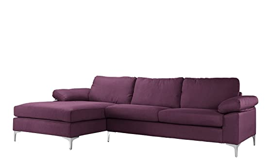 Amazon.com Modern Large Linen Fabric Sectional Sofa L-Shape Couch with Extra Wide Chaise Lounge (Purple) Kitchen u0026 Dining  sc 1 st  Amazon.com : purple chaise - Sectionals, Sofas & Couches