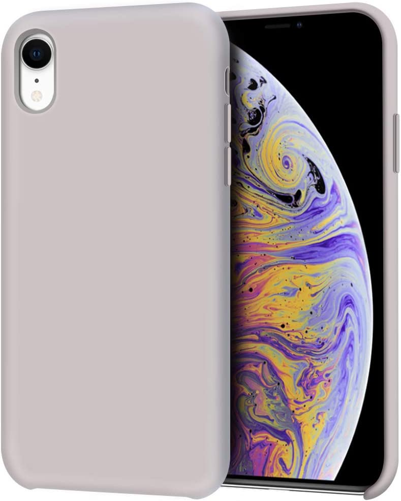 "Anuck iPhone XR Case, Anti-slip Liquid Silicone Gel Rubber Bumper Case with Soft Microfiber Lining Cushion Slim Hard Shell Shockproof Protective Case Cover for Apple iPhone XR 6.1"" 2018, Lavender Gray"
