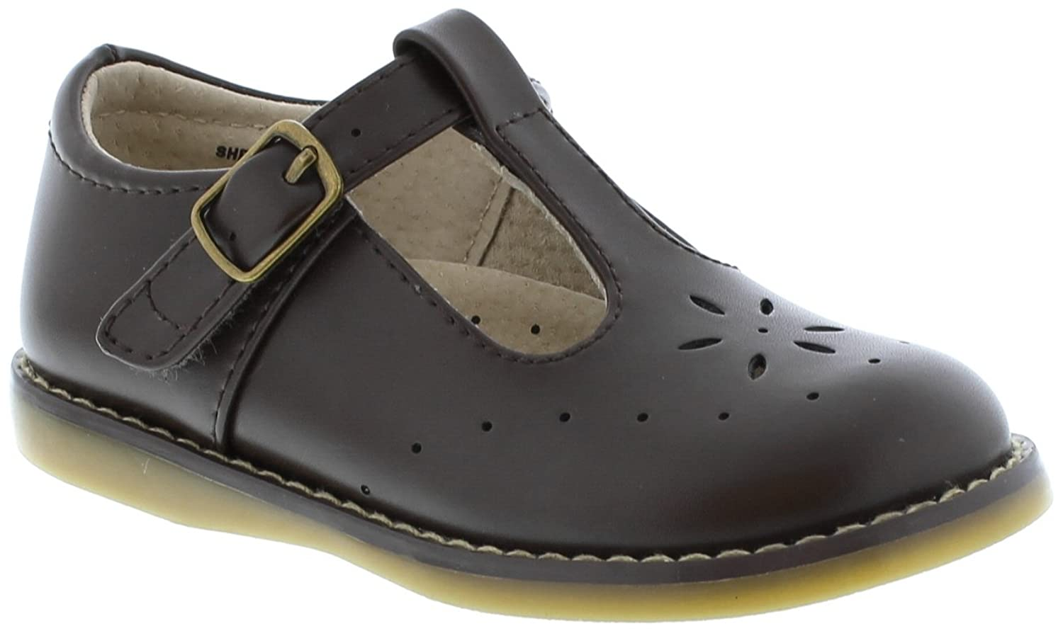 Footmates Girl's Sherry Velcro Perf T-Strap (Toddler/Little Kid) Chocolate