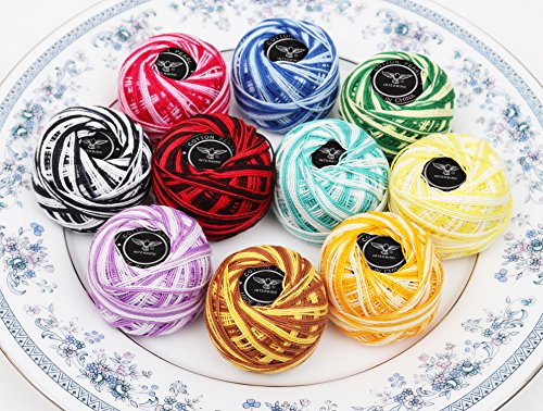 10 Pack Crochet Cotton Yarn Thread byStripy Design in An Assortment of Colors - Threads for Patterns, Projects and Applique - 5 Grams - 47.5 Yards of Thread - High (Thread Design Patterns)