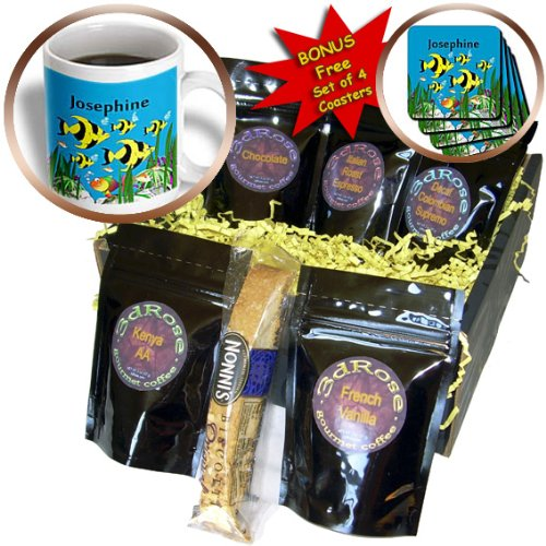 - SmudgeArt Female Child Name Designs - Colourful tropical plants and fish design personalized with a female name Josephine - Coffee Gift Baskets - Coffee Gift Basket (cgb_52875_1)