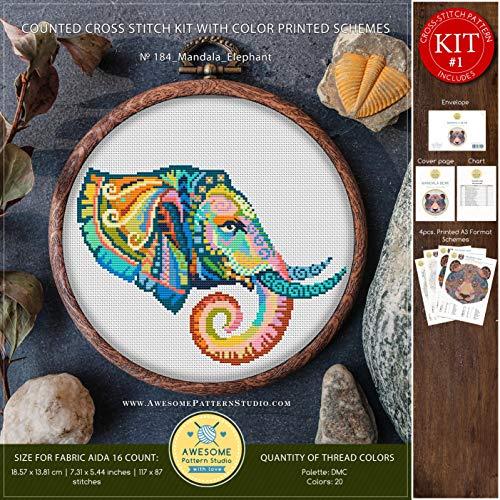 (Mandala Elephant #K184 Cross Stitch Kit | Stitching | Funny Animals Cross Stitch World | Needlepoint Kits | Counted Cross Stitch | Embroidery Stitches)