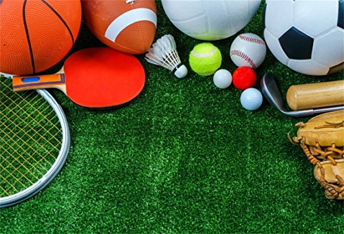(AOFOTO 10x7ft Various Sport Tools On Grass Background Baseball Rugby Golf Tennis Photography Backdrop Football Ping Pong Athletic Match Play Game Photo Studio Props Boy Girl Child Portrait Wallpaper)