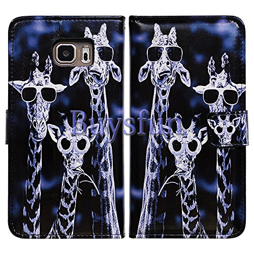 Black Giraffe Wallet - Bfun Packing Bcov Black Glass Giraffe Leather Wallet Cover Case For Samsung Galaxy S7