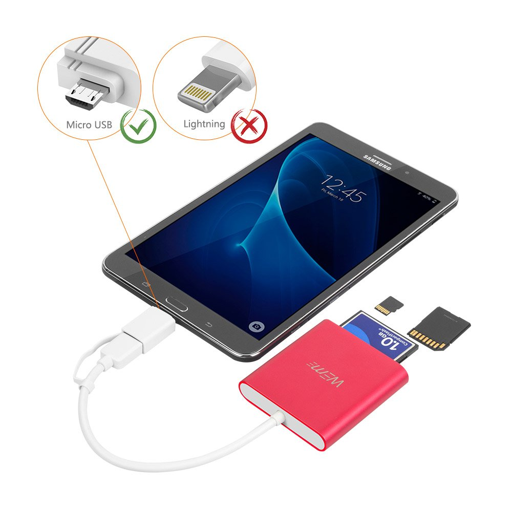 Compact Flash CF Card Reader WEme Aluminum Multi-in-1 USB 3.0 Micro SD Card ...