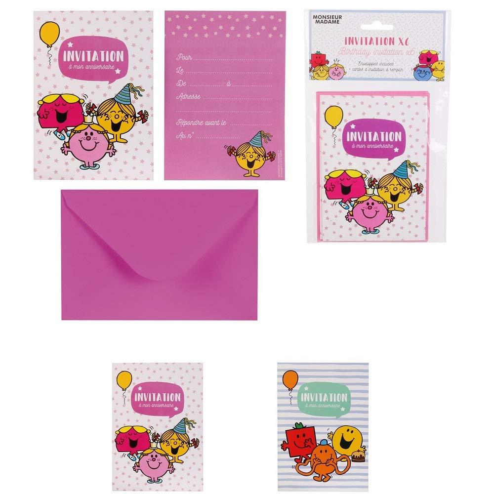 6 Cartons dInvitation Anniversaire Monsieur Madame avec Enveloppes Les Colis Noirs LCN Carton Carte Anniversaire 358 Mod/èle Al/éatoire