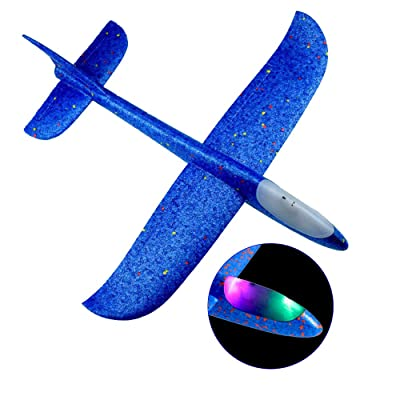 "Docooler1 Flying Glider Planes with Flash LED Light 18.9"" Foam Flight Mode Throwing Air Plane Aerobatic Airplane Outdoor Sport Game Toys Gift for Kids 3 4 5 6 7 Year Old Boy: Home & Kitchen"