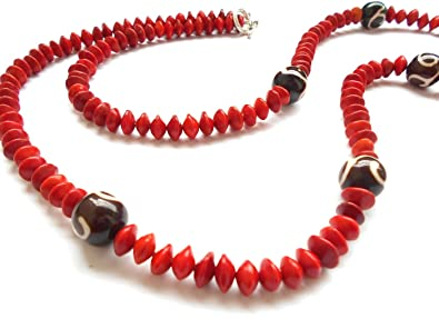 Valentine Gifts For Girlfriend Handicraft Jewellery Red Natural Adenanthera Pavonina Seeds Strand Long Necklace With
