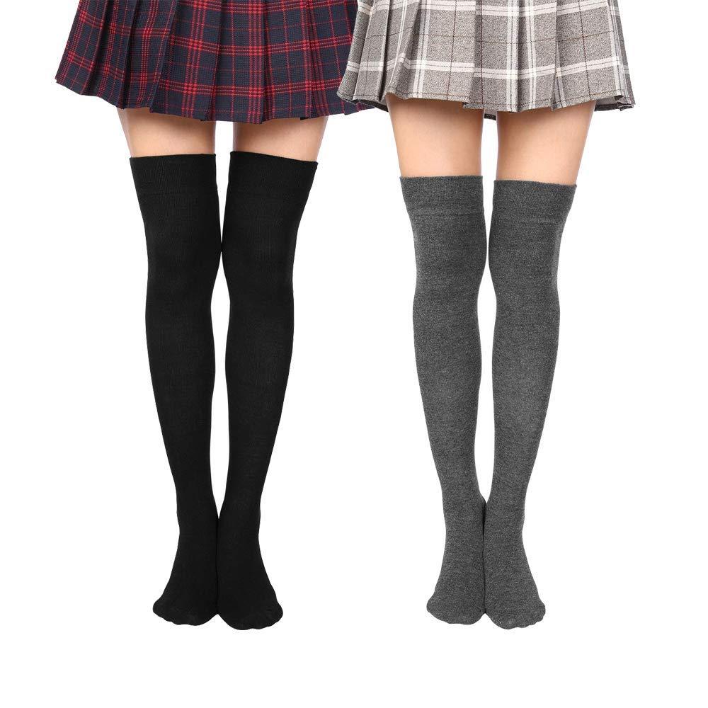 Black Dark Grey Wander G Women Over Knee Thigh Socks Boot Thigh Socks High Knee Stockings Tube Cosplay Socks
