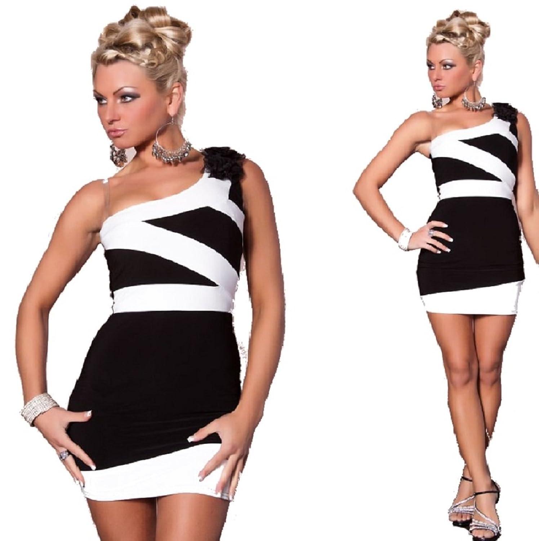 Abendkleid Minikleid Kleid Dress Schwarz Weiß Gr. S