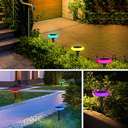 LightMe Outdoor LED Solar Light, 4 PCS Colorful Lighting Sensor Night Lights Waterproof Landscape Floor Lamps for Lawn Patio Garden Yard Driveway Pool Decor by LightMe (Image #5)