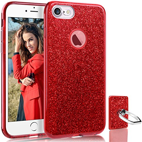 (HoneyAKE iPhone 8 Case Ultra Thin Cover Cute Girly Glitter Bling Sparkle Shell Luxury Shining Fashion Style Three Layer Slim Fit Protective Soft Phone Case for iPhone 8 4.7 inch(Red))