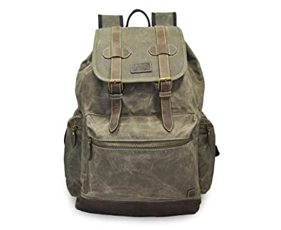 c34b67ed9291 Amazon.com  Mato Canvas Backpack Travel Hiking Rucksack Vintage Laptop  School Bag Green Bookbag  Shoes