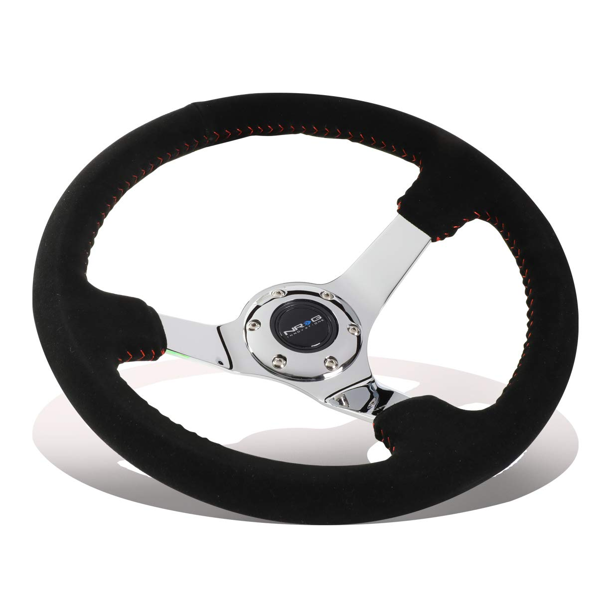 Black Suede with Red Baseball Stitching Chrome spoke NRG Innovations RST-036CH-S Race Style 350mm Sport Steering Wheel 3 deep