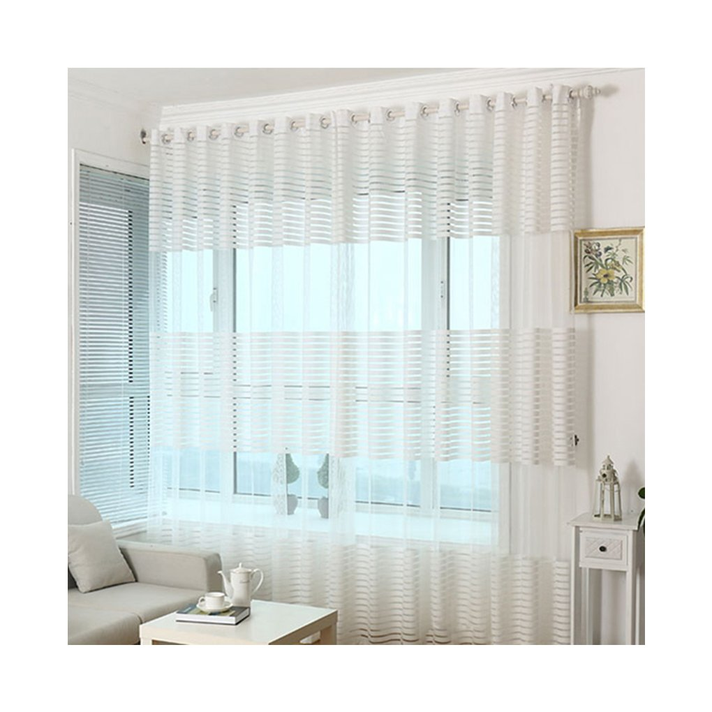 M-Egal Polyester Stripe Voile Window Curtain Transparent Living Room Balcony Window Screening white 100*200cm