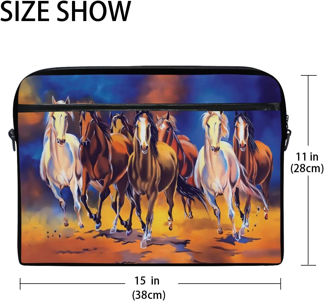 QMXO 14-14.5 inch Laptop Case Watercolor Animal Horses Art Painting Laptop Computer Sleeve Bag Protective Shoulder Bag Carrying Case Briefcase for Office Women Men