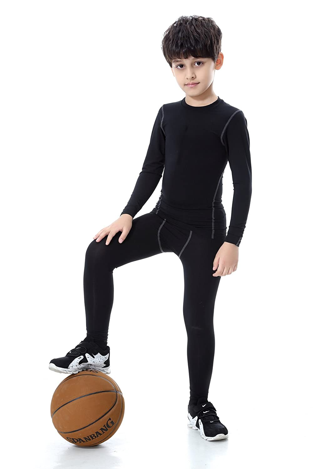 TOURME Kids Athletic Long Sleeve Compression Shirts Pant 2 Pcs Set for Boy Girl