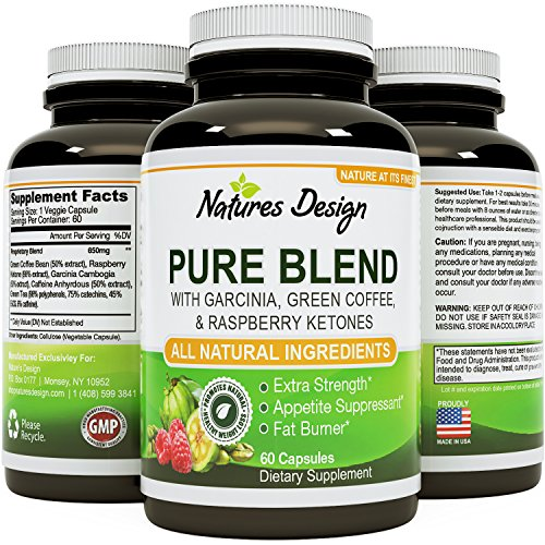 NEW Pure Garcinia Cambogia, Green Coffee Bean & Raspberry Ketones Complex + Green Tea - Highest Grade Pure Blend, Quality & Premium Formula - Recommended Dosages, Guaranteed By Natures Design