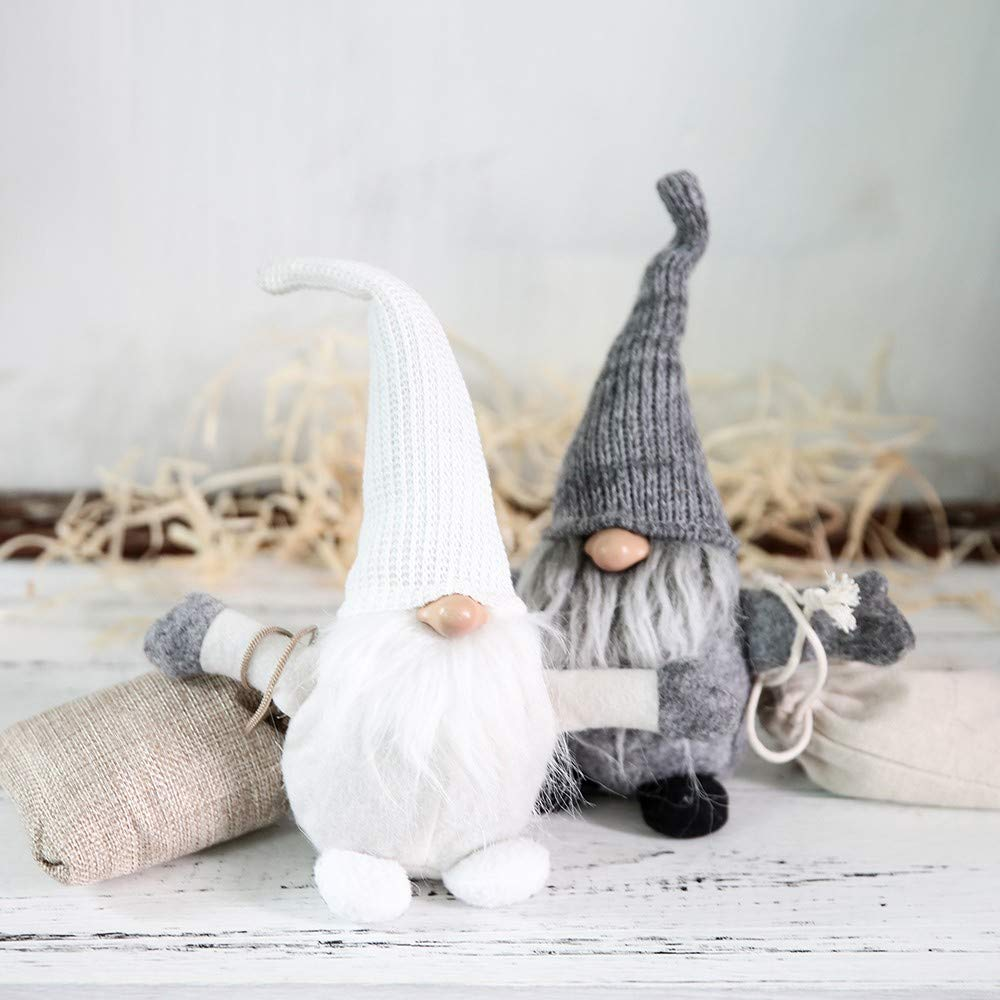 ITOMTE Handmade Swedish Gnome Christmas Decorations Holiday Presents Yule Santa Nisse Winter Table Ornament Plush Elf Toy Scandinavian Tomte White Home Decor 10 Inches Nordic Figurine