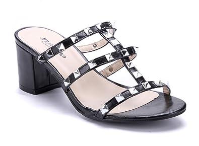 Schuhtempel24 Damen Schuhe Zehentrenner Sandalen Sandaletten Schwarz Blockabsatz Nieten 3 cm ULatD7MvrH