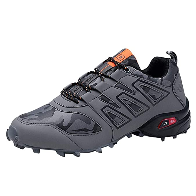 Amazon.com | TOOSBUY Mens Outdoor Skid Resistant Hiking Shoes Waterproof Non-Slip Breathable Climbing Sport Running Shoes | Hiking Shoes