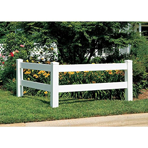 5 in. x 5 in. x 5 ft. Vinyl White Ranch 2-Rail Line Post - 5 Ft Fence Post