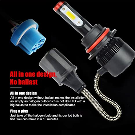 TURBOSII Extremely Bright H1 Led Headlight Bulbs All-In-One Conversion kits,Waterproof 6000K//4300K//3000K Cool White Halogen Bulbs Replacement,1 Year Warranty