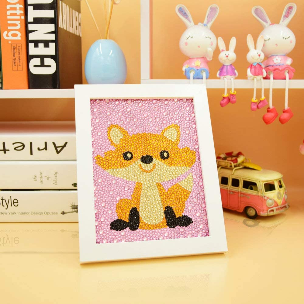 Fox 5.9X7.9 inches Bojetal 5D Diamond Painting Kits for Kids Beginner Easy DIY Crystal Art Full Drill Painting by Number Kits with Frame for Children Up 6 Years Old Gift