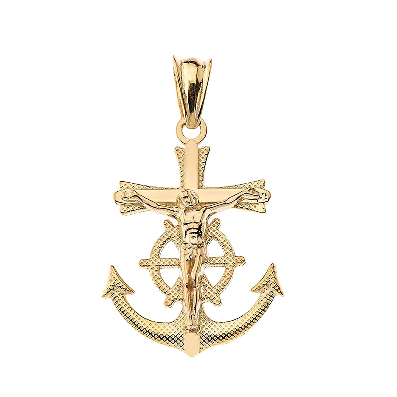 LA BLINGZ 14K Yellow Gold Mariner Crucifix Cross Charm Pendant