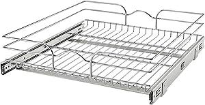Rev-A-Shelf 5WB1-2122CR-1 21 Inch x 22 Inch Single Wire Basket Pull Out Shelf Storage Organizer for Kitchen Base Cabinets, Silver