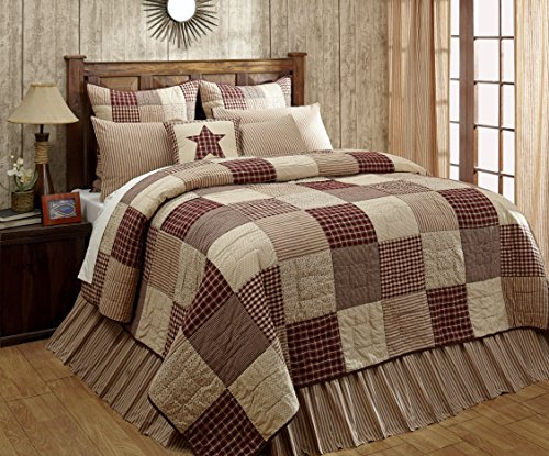 Cheston Patchwork Block Luxury King Quilt - Primitive Country Burgundy