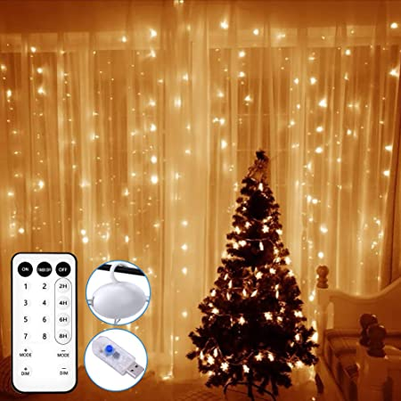 Timer Remote Controller Window Icicle Light for Christmas Party Wedding Bedroom Patio Indoor Outdoor 300 LEDs Dimmable Fairy Light Strings with 8 Lighting Modes Warm White Memory Function LE Curtain Lights