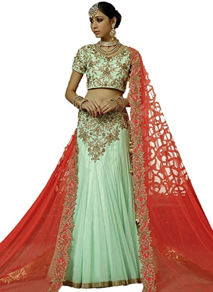 EthnicWear Turquoise Net Embroidered Patch Border Zari Work Indian ...