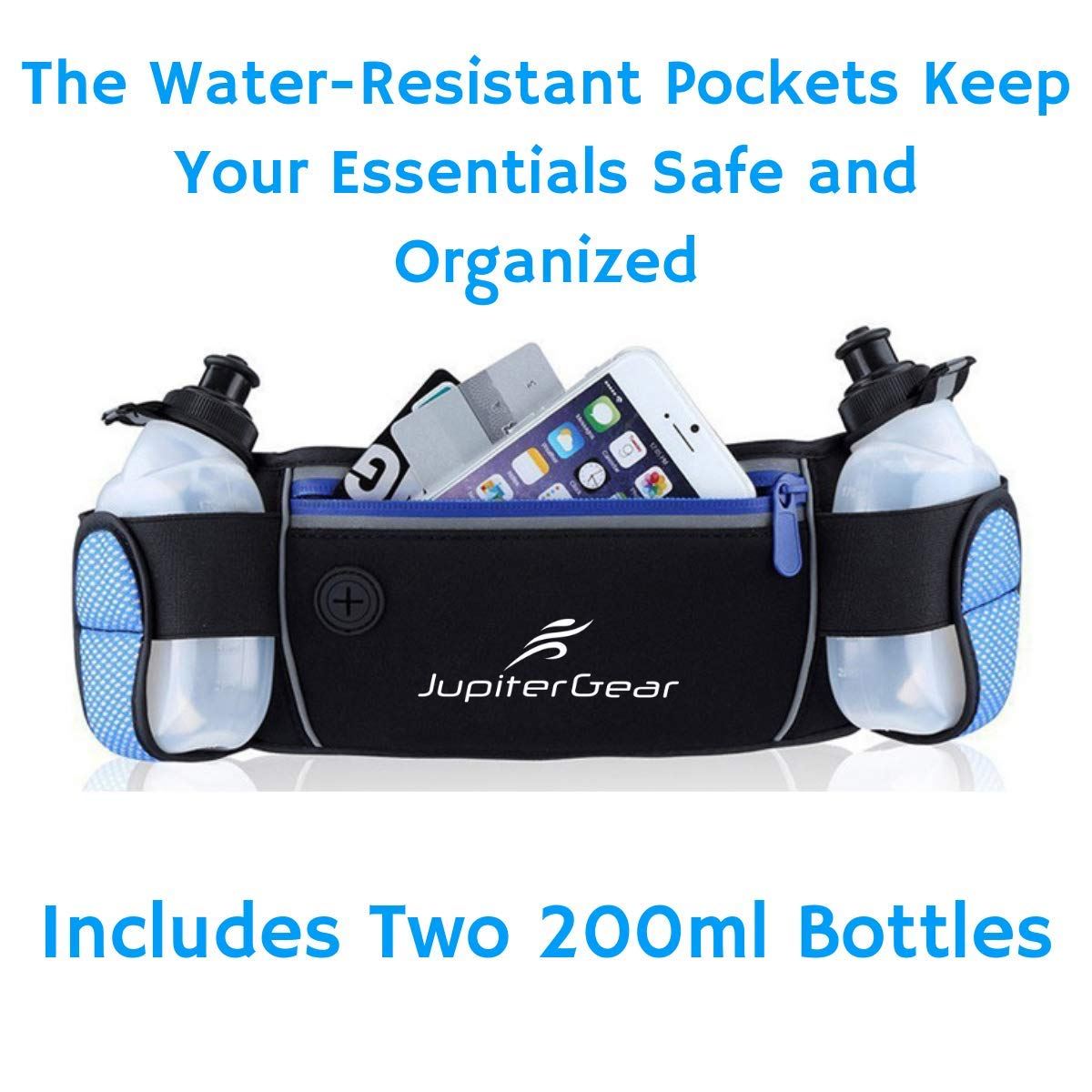 JupiterGear Running Hydration Belt Waist Bag with Water-Resistant Zipper Pockets /& 2 Water Bottles for Running Hiking Cycling Climbing and for 6.1 Inch Smartphones