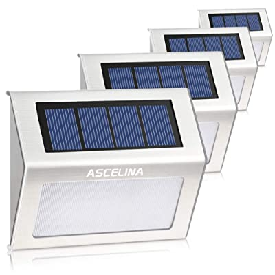 ASCELINA Solar Step Lights, Super Bright LED Deck Lamp Waterproof Stainless Steel Outdoor Security Stair Lights for Porch Walkway Patio Pathway Fence Wall(Pure White Light, Pack of 4 )
