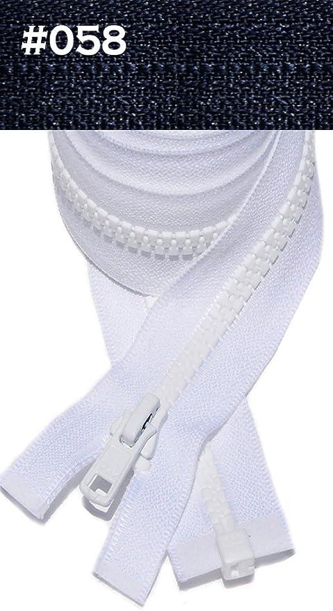 """5 Vislon YKK #5 White 20"""" Molded Plastic Zipper Ring Pull Separating Made in USA"""