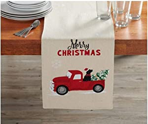 Merry Christmas Vintage Red Truck, Black Lab Dog, Fabric Table Runner, (13 x 72)