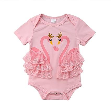 Cute Flamingo Bodysuit Newborn Baby Girls Short Sleeve Jumpsuit Clothes Outfits Sunsuit Bodysuits Bodysuits & One-pieces